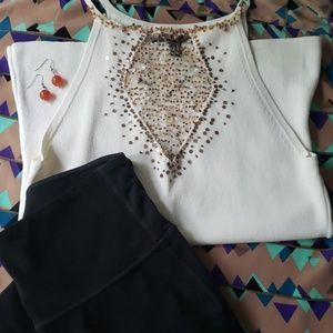 combo outfit: dressy leggings + beaded tank blouse
